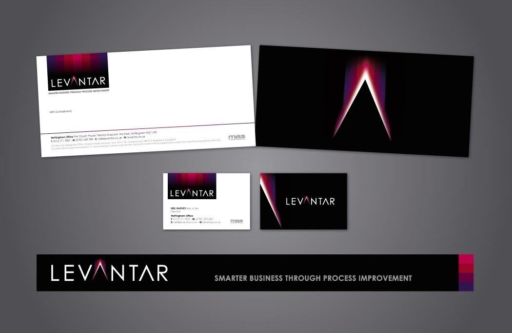 Stationery design for Levantar by BLU:72 Creative, Nottingham