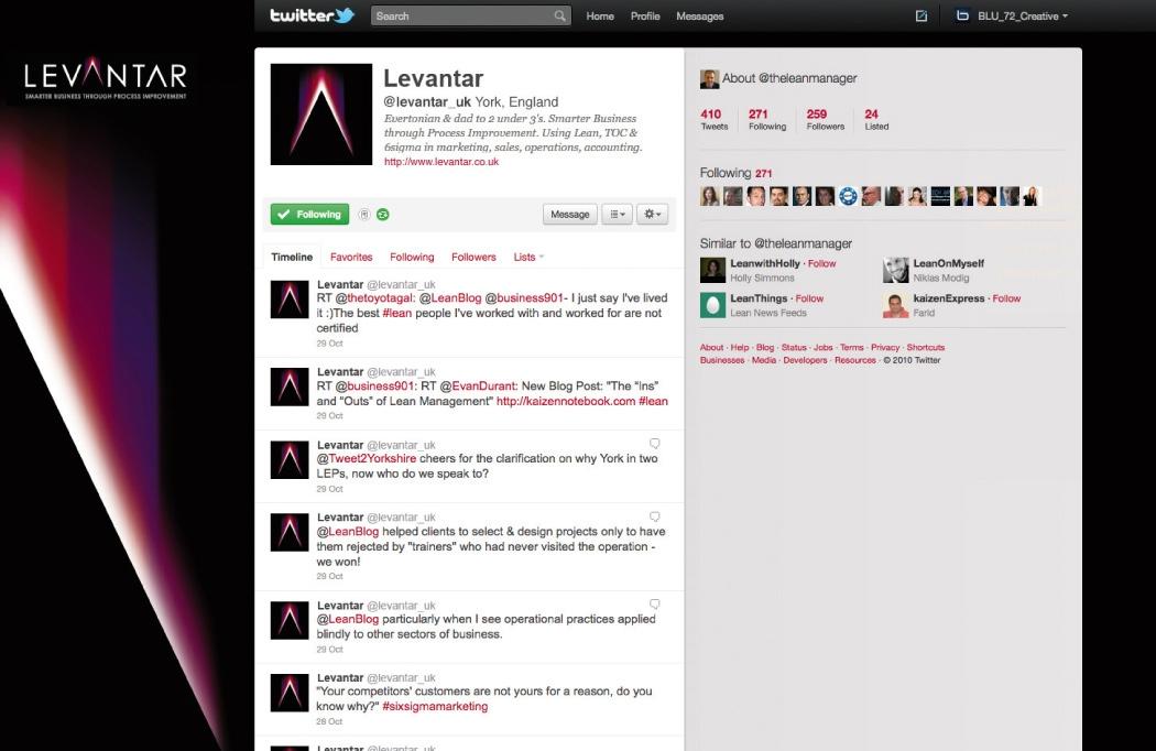 Twitter design for Levantar by BLU:72 Creative, Nottingham