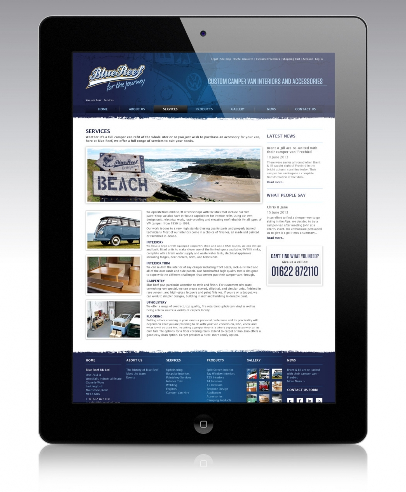 E-Commerce Web design for Blue Reef by BLU:72 Creative