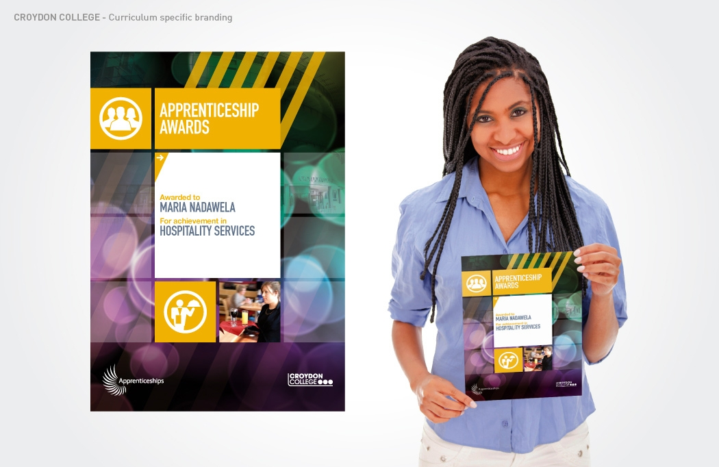 Apprenticeship certificate design for Croydon College by BLU:72 Creative