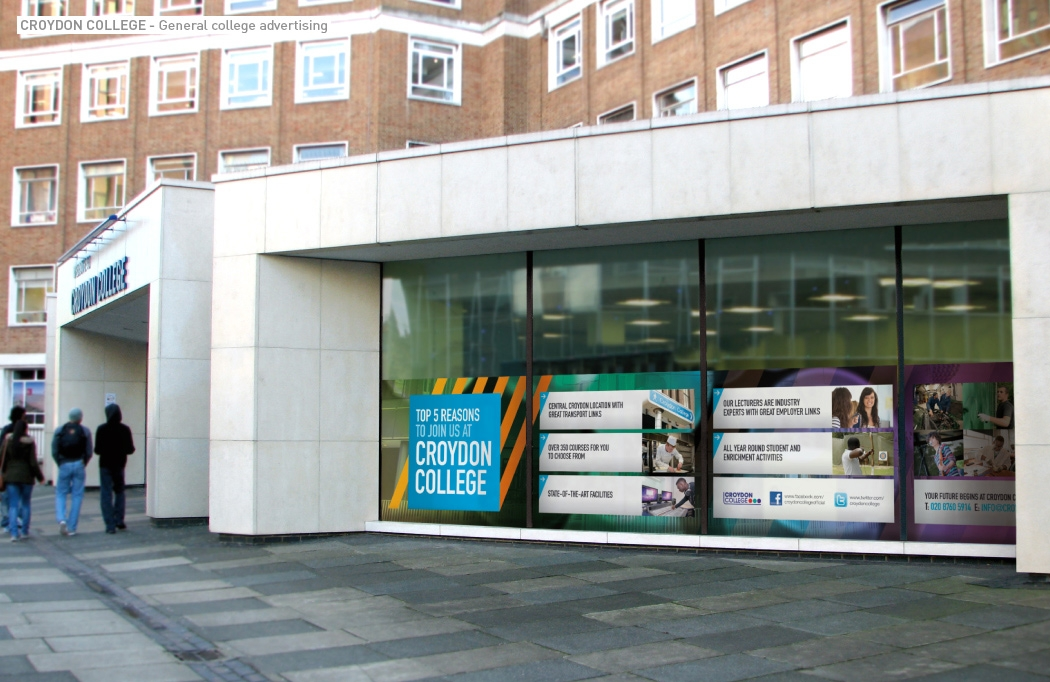 On site advertising for Croydon College by BLU:72 Creative