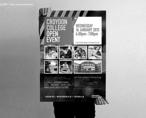 Open Event poster design for Croydon College by BLU:72 Creative