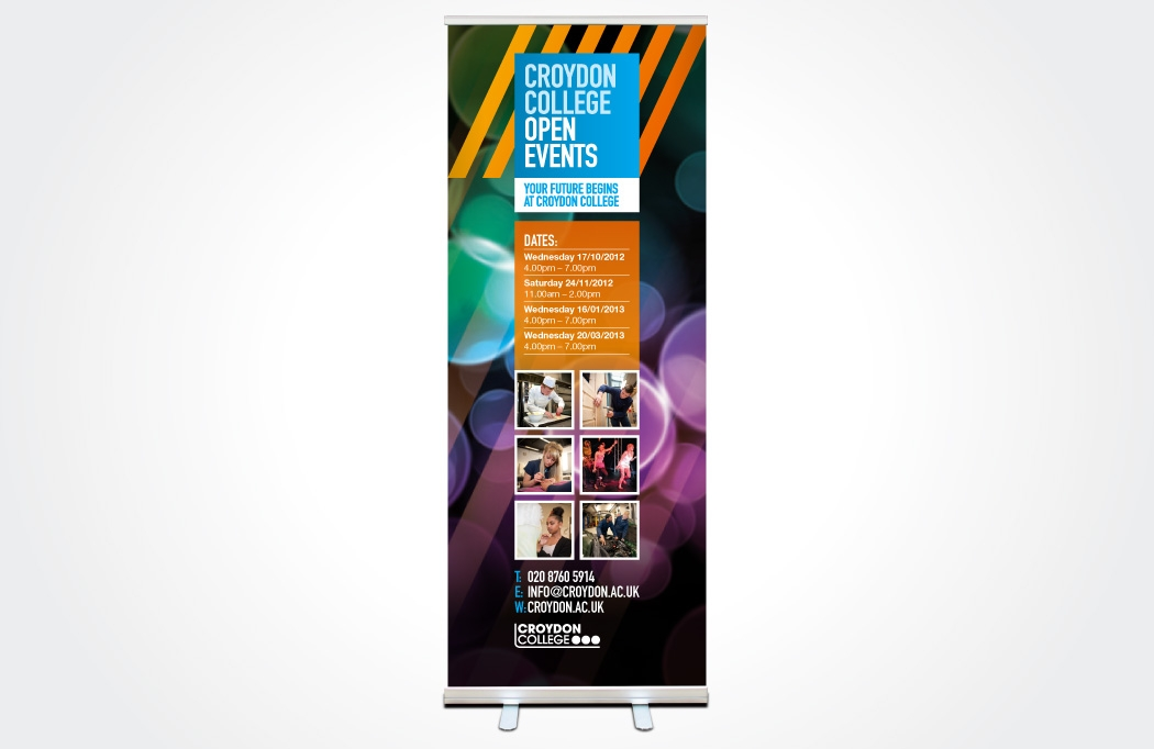 Image of a pull-up banner for Croydon College designed by BLU:72 Creative