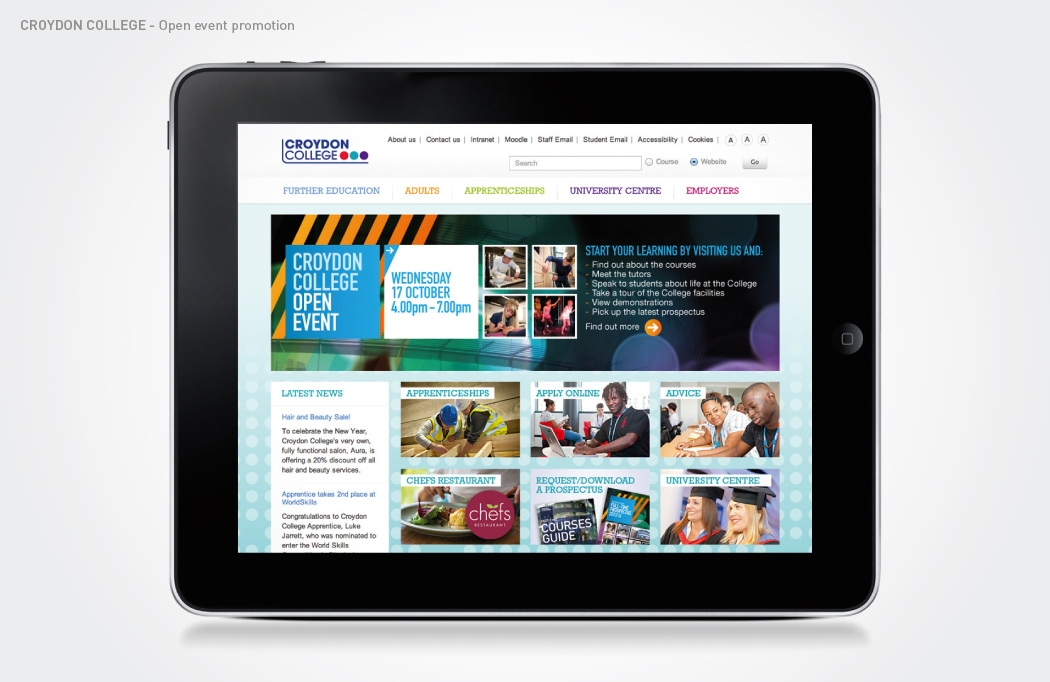 Open Event web banner for Croydon College by BLU:72 Creative