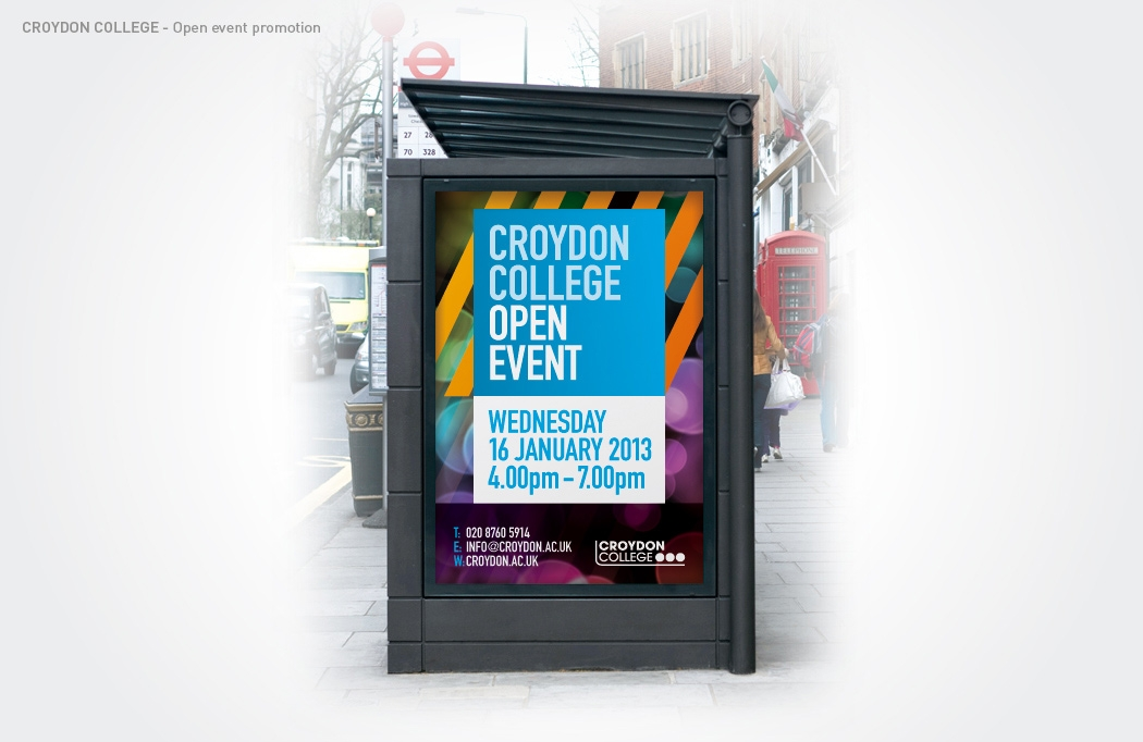 Bus shelter ad for Croydon College by BLU:72 Creative