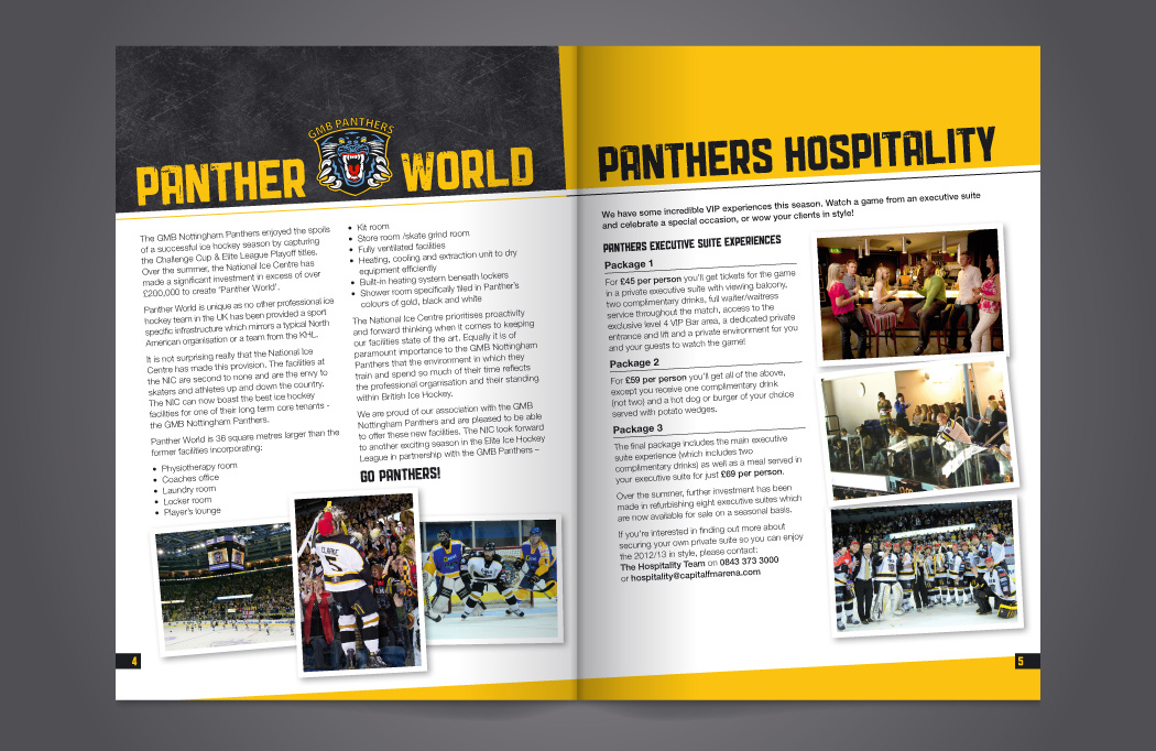 Nottingham Panthers booklet design by BLU:72 Creative