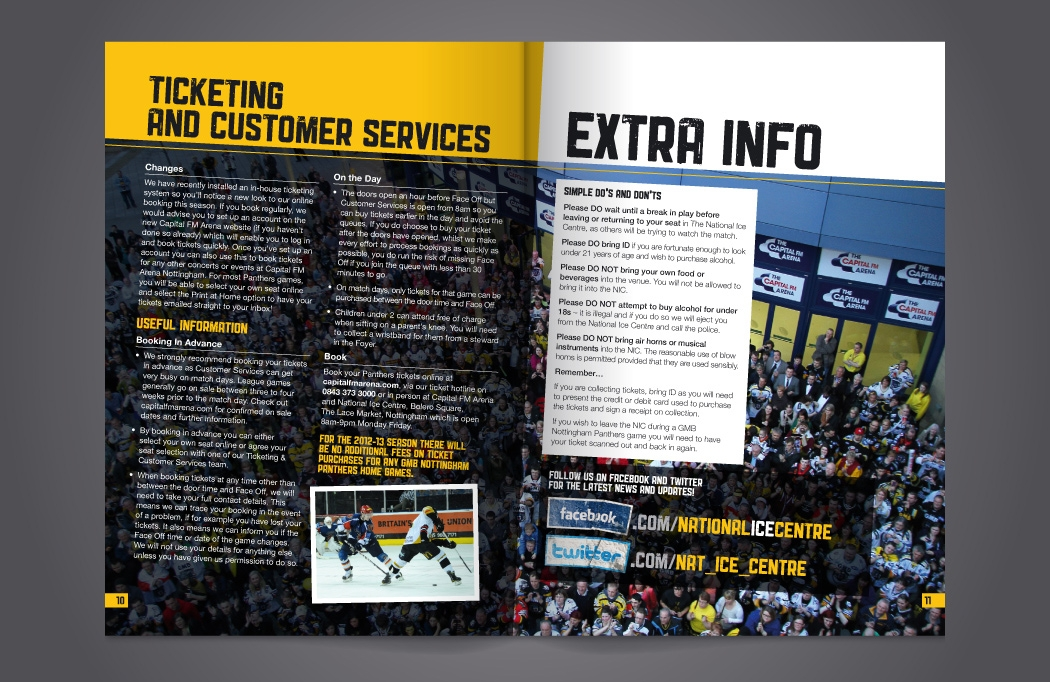 Nottingham Panthers brochure design by BLU:72 Creative