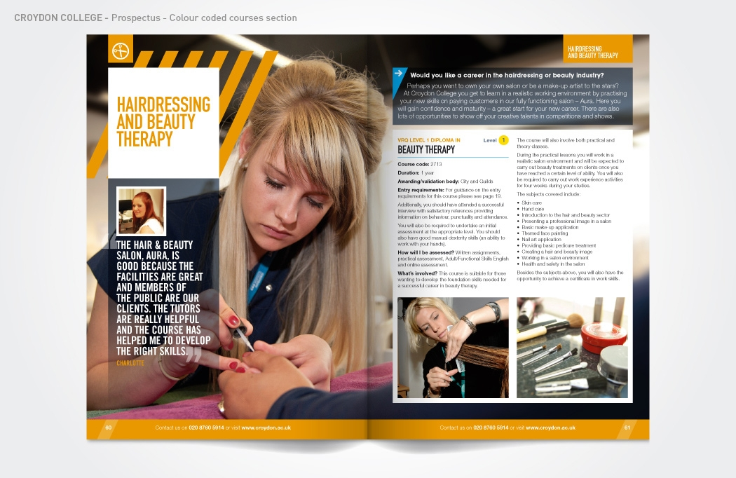 Prospectus design for Croydon College by BLU:72 Creative