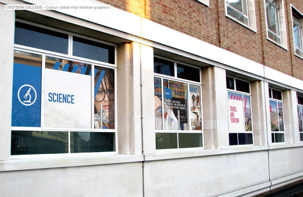 Vinyl window graphics for Croydon College by BLU:72 Creative