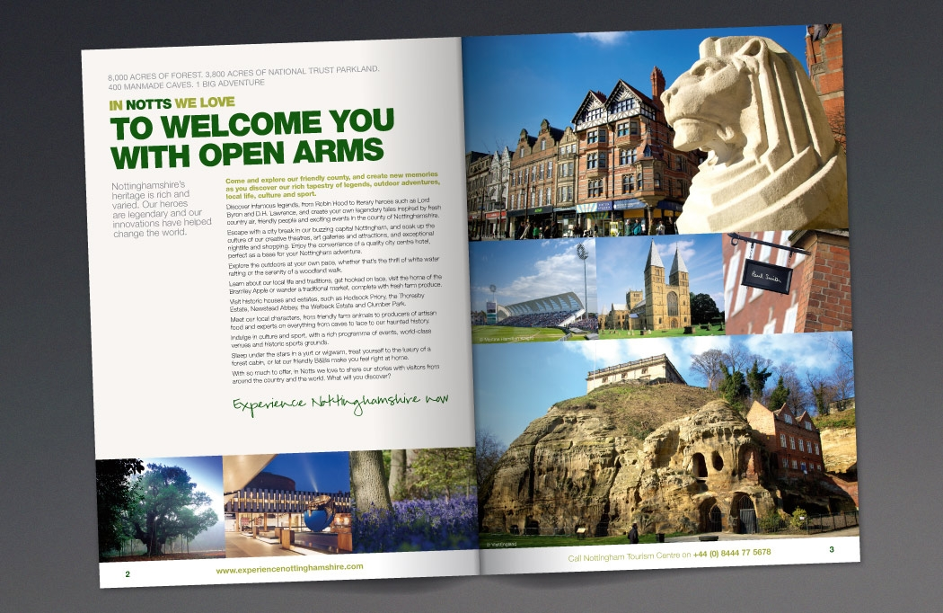 Image of the Nottinghamshire tourism guide designed by BLU:72 Creative