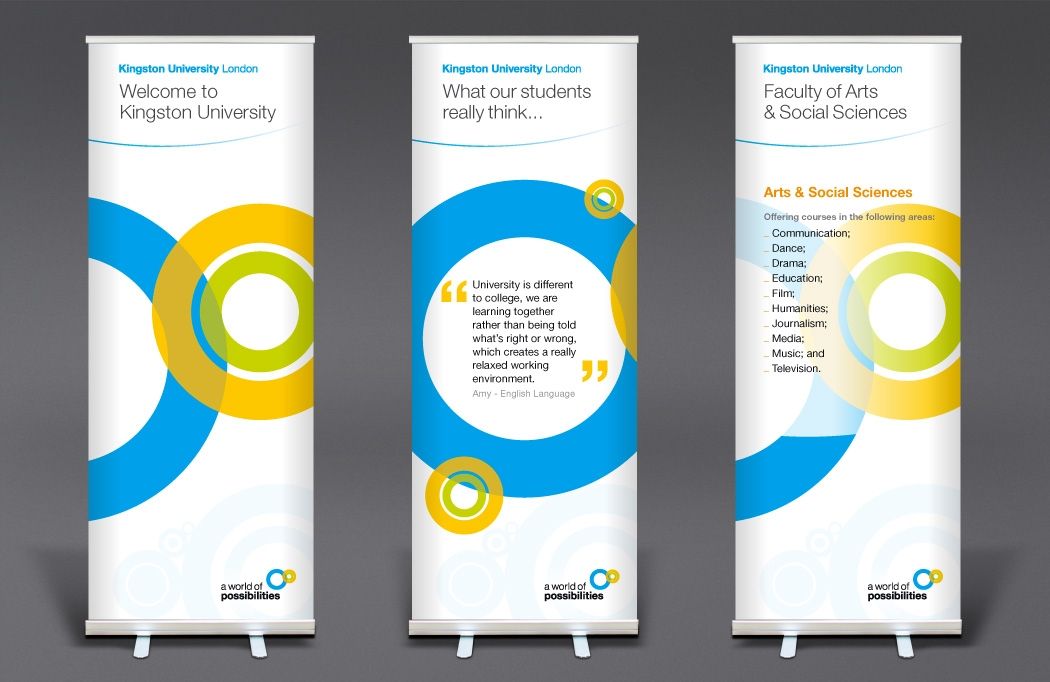 Pull-up banner for Kingston University designed by BLU:72 Creative