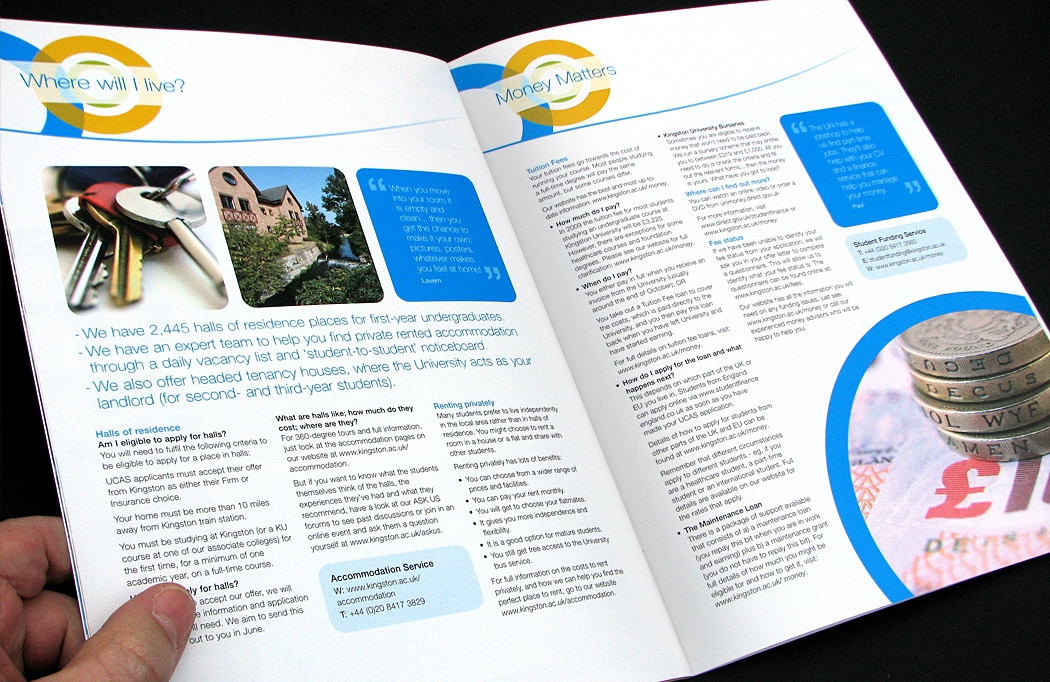 Kingston University Offer Guide designed by BLU:72 Creative