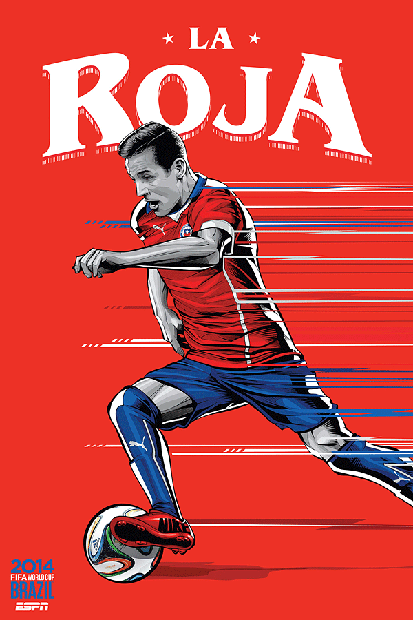 Chile World Cup Illustration Poster