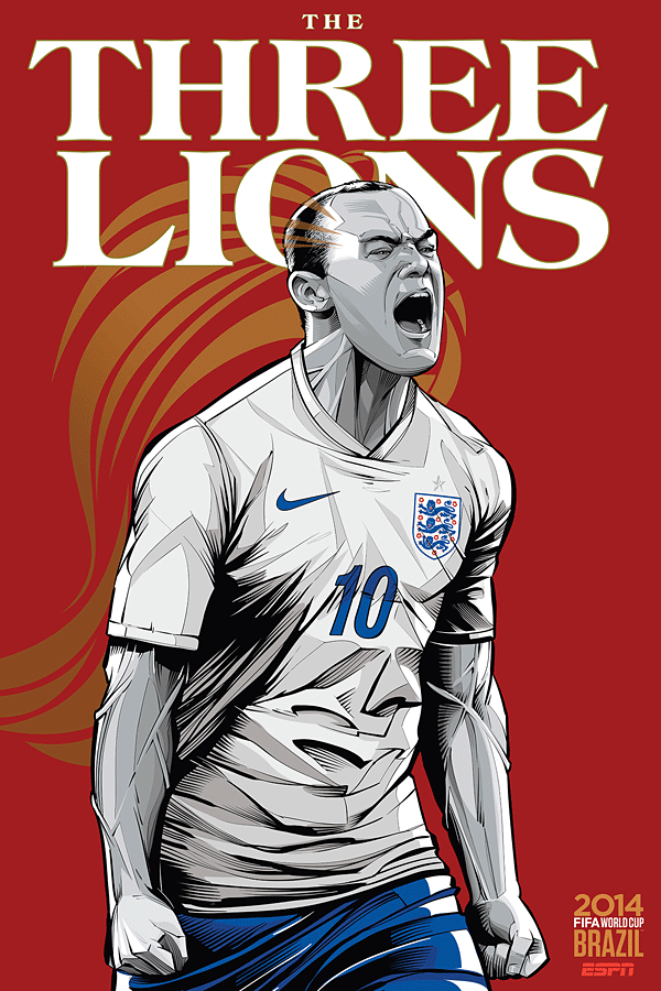 England World Cup Illustration Poster
