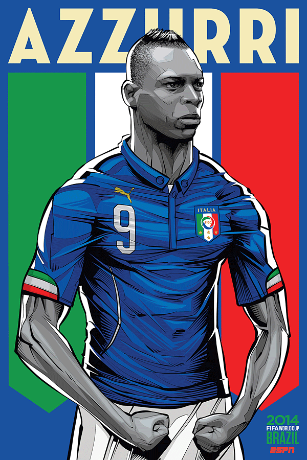 Italy World Cup Illustration Poster