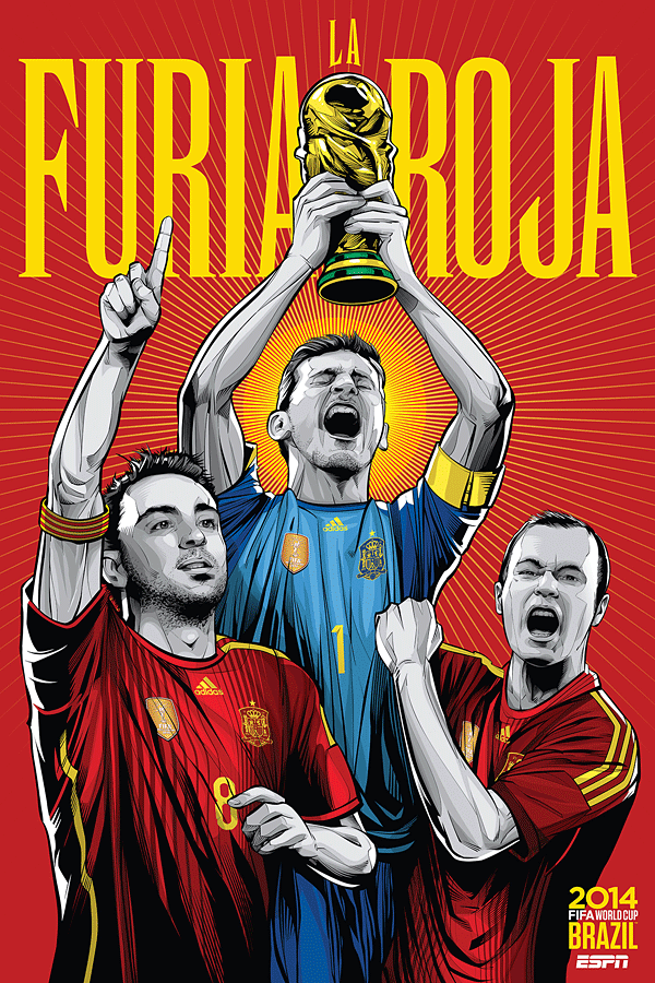 Spain World Cup Illustration Poster