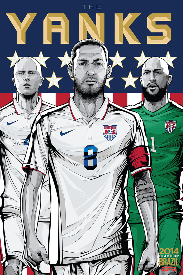 USA World Cup Illustration Poster