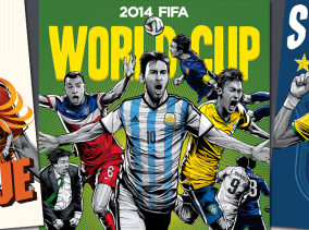 Illustrative posters from the 2014 FIFA World Cup