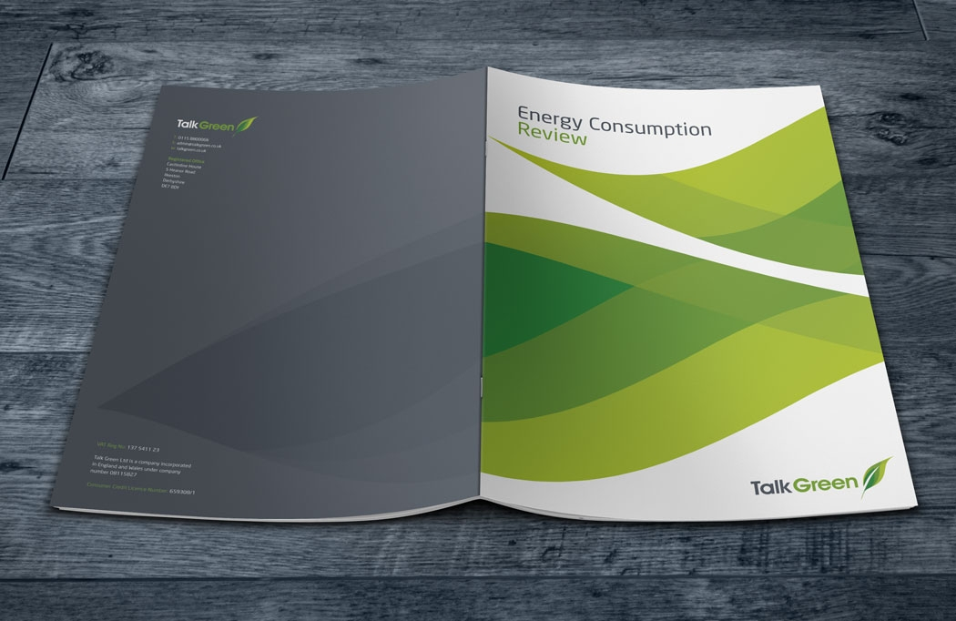 Brochure design for Talk Green by BLU:72 Creative, Nottingham