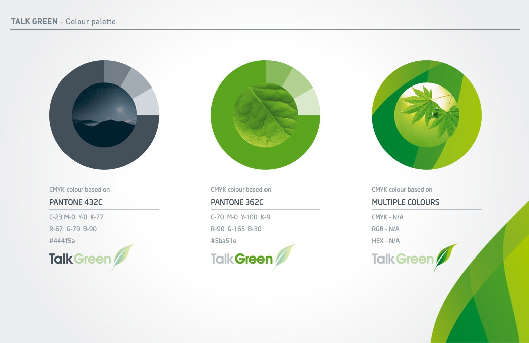 Colour Palette for Talk Green Branding by BLU:72 Creative