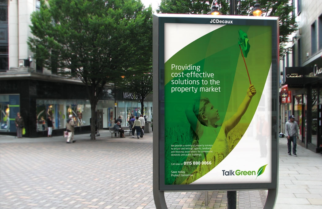 Outdoor Advertising design for Talk Green by BLU:72 Creative, Nottingham