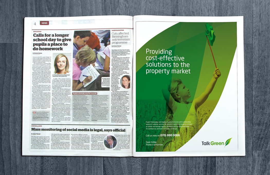 Press ad design for Talk Green by BLU:72 Creative, Nottingham