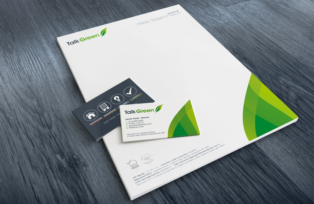 Stationery design for Talk Green by BLU:72 Creative, Nottingham