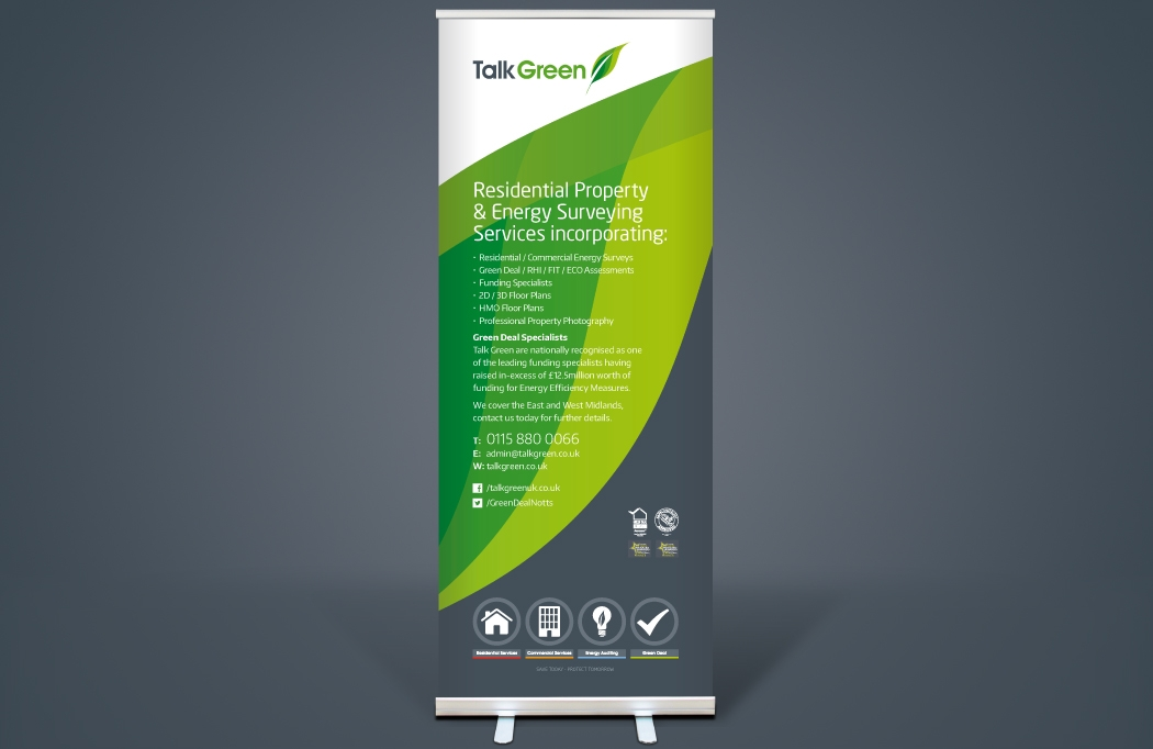 Pull-up banner designed for Talk Green by BLU:72 Creative