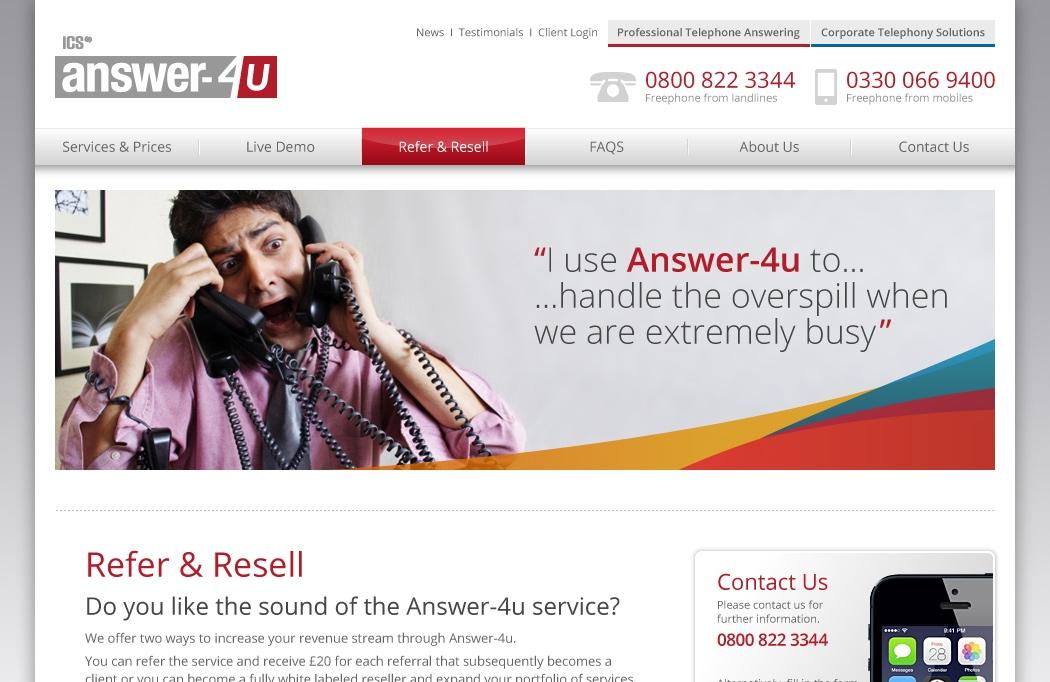 Web design for Answer-4u by BLU:72 Creative