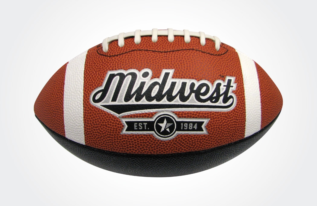 Midwest logo design and branding applied to an American Football - created by BLU:72 Creative