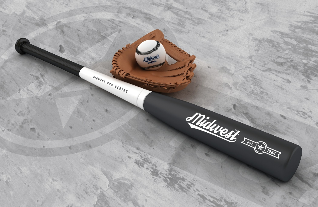 Midwest logo design and branding applied to a baseball set - created by BLU:72 Creative