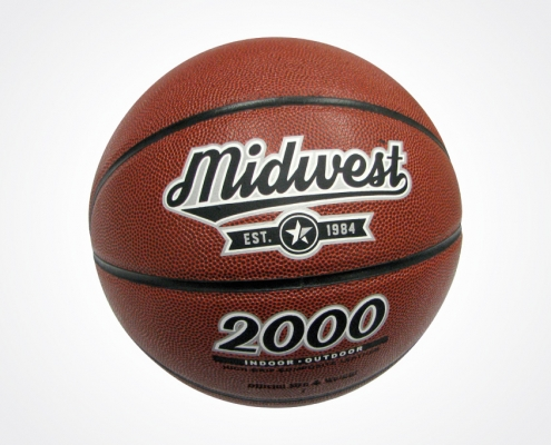 Midwest logo design and branding applied to a basketball - created by BLU:72 Creative