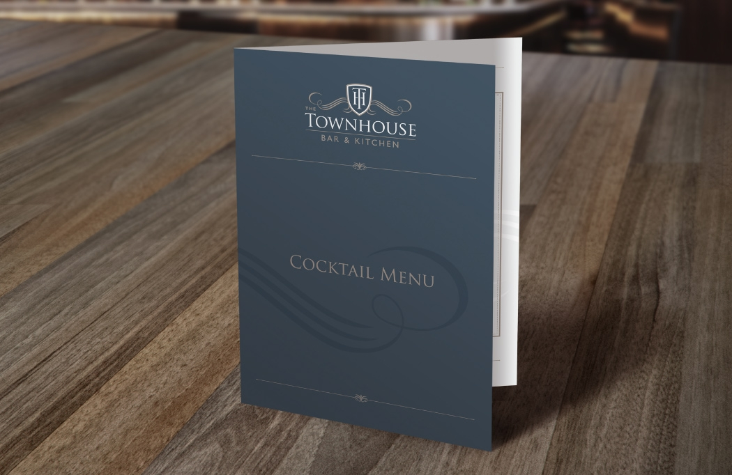 Logo and cocktail menu design for The Townhouse by BLU:72 Creative