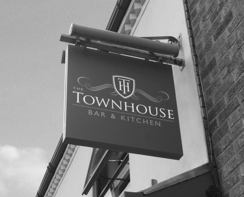 Logo design and signage for The Townhouse by BLU:72 Creative