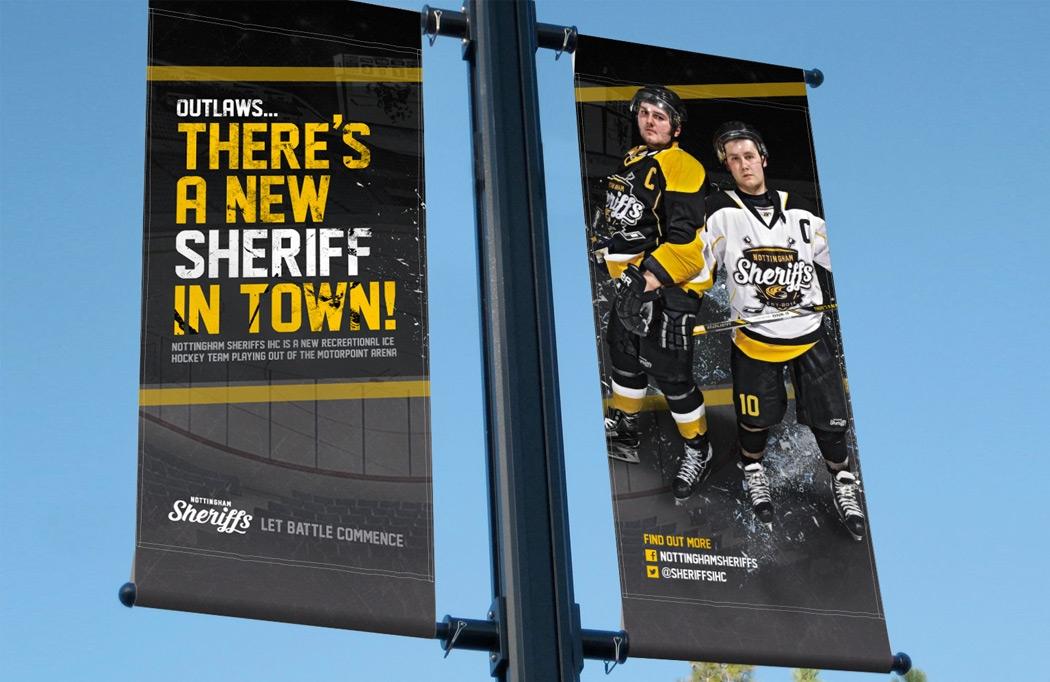 Lamp post banner design for Nottingham Sheriffs - Ice Hockey Design