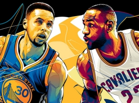 An illustration of Steph Curry v Lebron Jamaes