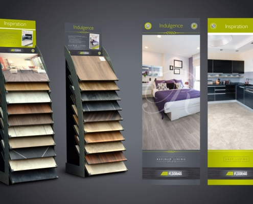Point of sale display units for Contemporary Trade Flooring - Designed by BLU:72 Creative, Nottingham