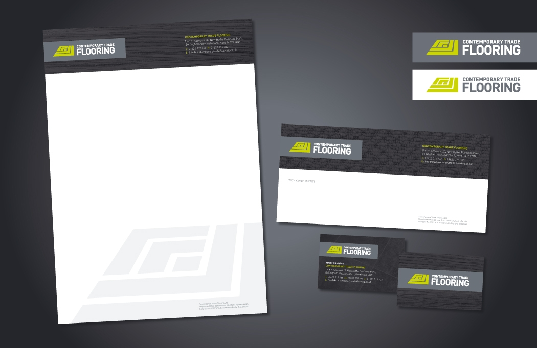 Logo design and stationery for Contemporary Trade Flooring, designed by BLU:72 Creative