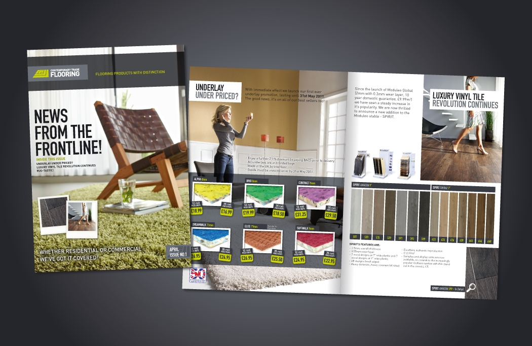 Marketing literature for Contemporary Trade Flooring, designed by BLU:72 Creative