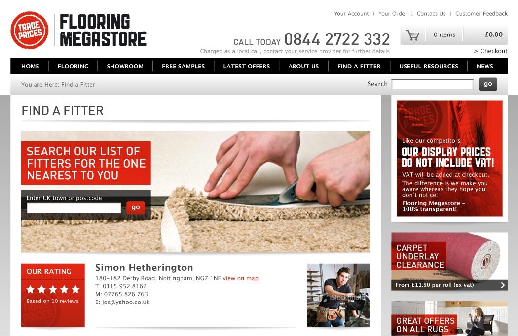 Website design for Flooring Megastore