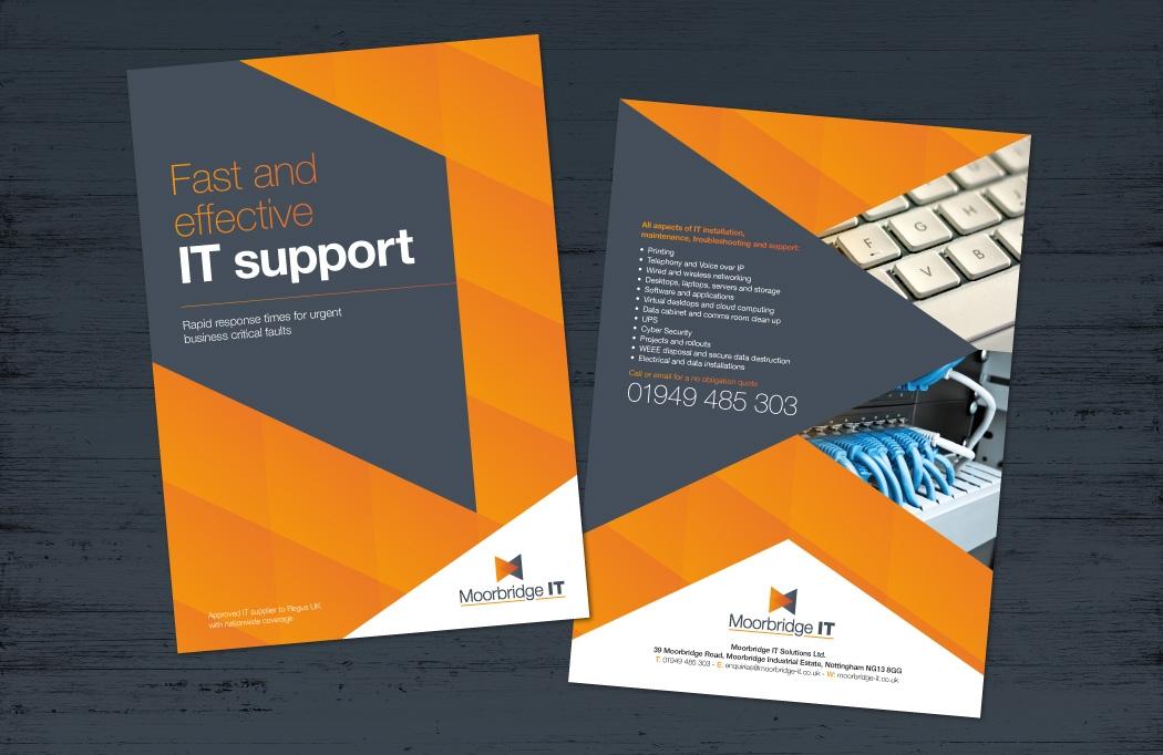 A5 leaflet design for Moorbridge IT by BLU:72 Creative