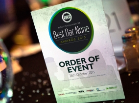 Event Branding for the Nottinghamshire Best Bar None Awards night designed by BLU:72 Creative