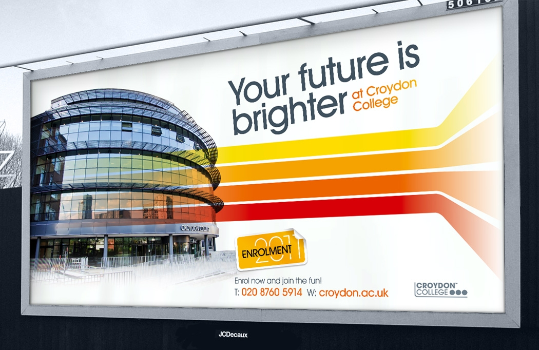 48 sheet advert for Croydon College Enrolment designed by BLU:72 Creative