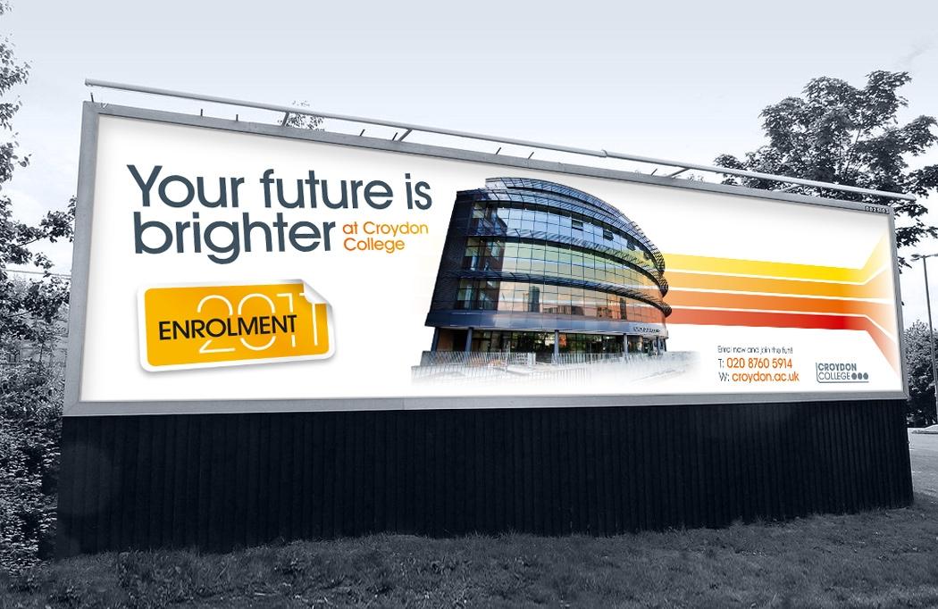 96 sheet advert for Croydon College Enrolment designed by BLU:72 Creative