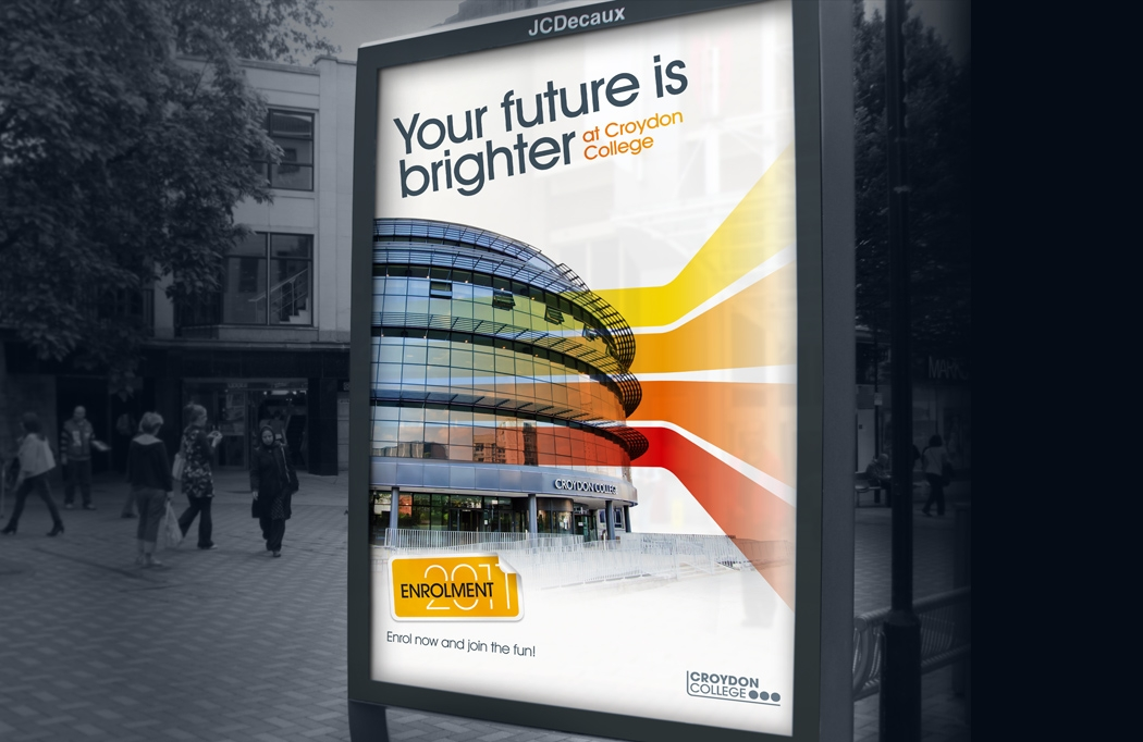 Decaux panel advert for Croydon College Enrolment designed by BLU:72 Creative