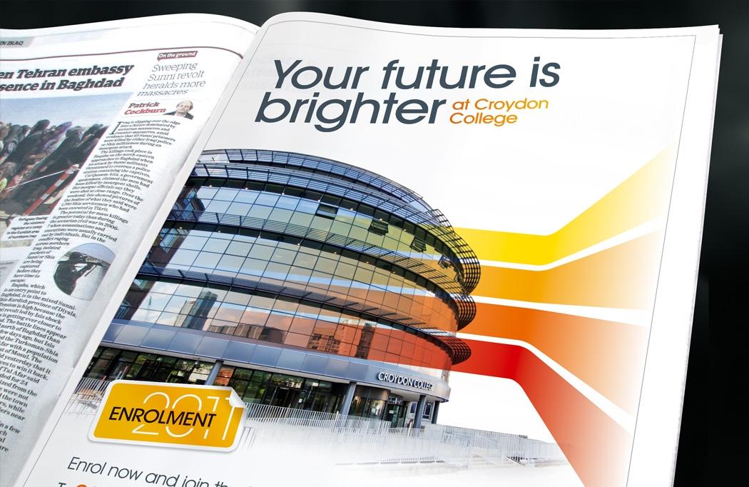 Newspaper advert for Croydon College Enrolment designed by BLU:72 Creative