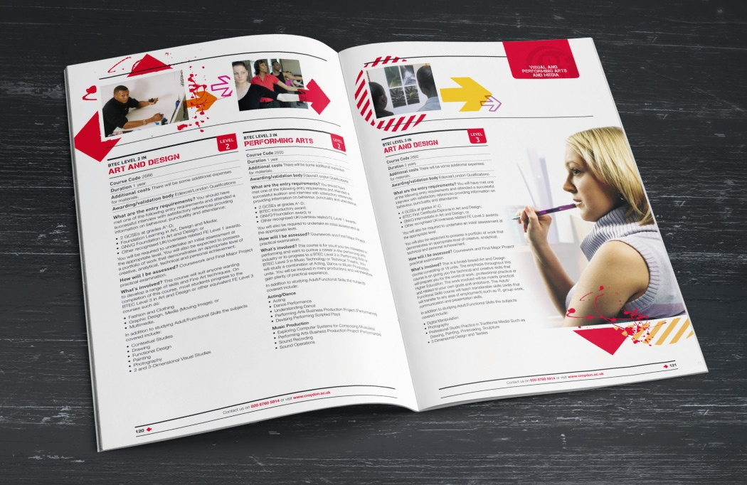 Photo of a college prospectus designed for Croydon College by BLU:72 Creative