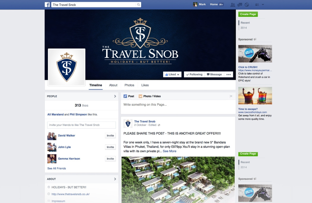 Travel Agent Branding - Facebook page designed for The Travel Snob
