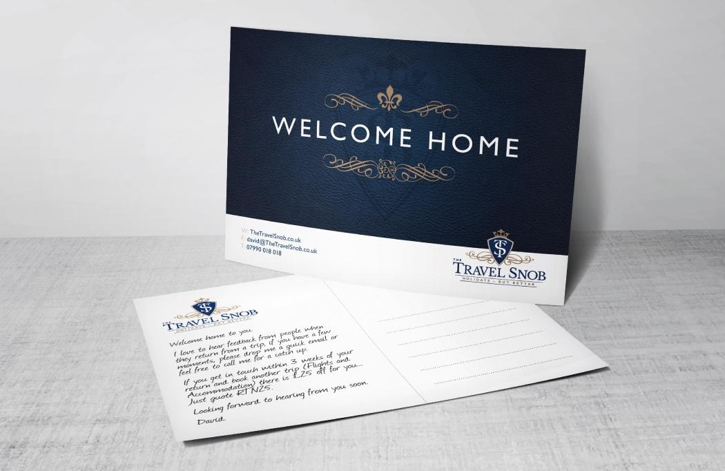 Travel Agent Branding - A postcard designed for The Travel Snob