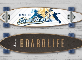 Image of graphic design branding on a longboard